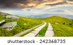 composite panorama Landscape with road on a hillside with huge stones and conifer trees  near mountain peak - stock photo