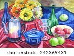 Still life Watercolor Painting with pot ,bottle and wine glass