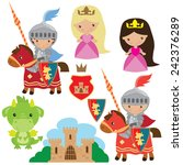 knight  princess and dragon... | Shutterstock .eps vector #242376289