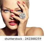 closeup of a smiling model... | Shutterstock . vector #242388259