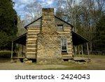 Cades Cove Historic Cabin - stock photo
