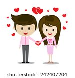 man and woman couple hold hands ... | Shutterstock .eps vector #242407204