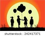 children silhouettes | Shutterstock .eps vector #242417371
