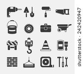 construction black icons on... | Shutterstock .eps vector #242420947