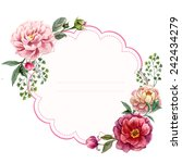 Stock vector peony frame card watercolor 242434279