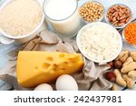 food high in protein on table ... | Shutterstock . vector #242437981