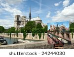 Paris,France - August 15: View on Notre Dame Cathedral and painting in Paris,France, 15th August 2008 - stock photo