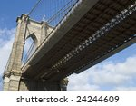A view from under the Brooklyn Bridge showing architectural detail. - stock photo
