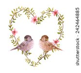 Watercolor Birds And Heart Of...