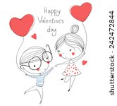 valentine's day. boy and girl.... | Shutterstock .eps vector #242472844
