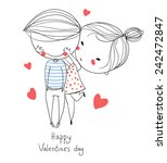 valentine's day. boy and girl.... | Shutterstock .eps vector #242472847