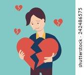 sad man holding broken heart...   Shutterstock .eps vector #242486575