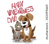 valentines day cartoon dog and... | Shutterstock . vector #242495665