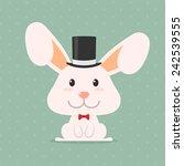 cute smile rabbit wear top hat | Shutterstock .eps vector #242539555