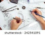 man's hand with a compass.... | Shutterstock . vector #242541091