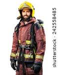fireman in fire fighting gear... | Shutterstock . vector #242558485