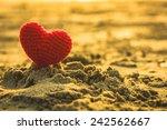 Sweet Heart On Sand Beach Unde...