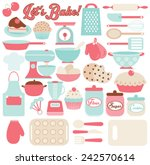 lets bake   kitchen utensils  | Shutterstock .eps vector #242570614