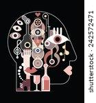 abstract art head   vector... | Shutterstock .eps vector #242572471