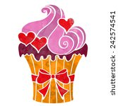 watercolor cupcake with hearts... | Shutterstock .eps vector #242574541