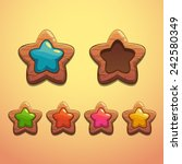 set of cartoon wooden stars ...