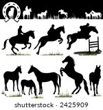 Horse Silhouettes - Vector. Easy Change Colors... (Check out my portfolio for other silhouettes) - stock vector