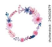 watercolor vector wreath....   Shutterstock .eps vector #242602879