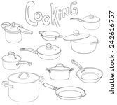 cooking   set of pans and... | Shutterstock .eps vector #242616757