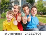 happy family. father  mother... | Shutterstock . vector #242617909