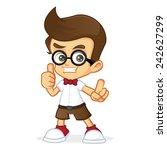 nerd giving thumb up | Shutterstock .eps vector #242627299