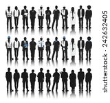 silhouettes of people with... | Shutterstock .eps vector #242632405