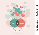 me and you on heart balloon... | Shutterstock .eps vector #242636341
