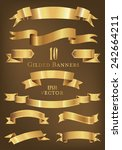 collection of 10 golden banners ... | Shutterstock .eps vector #242664211
