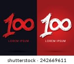 100  one hundred grungy  font ... | Shutterstock .eps vector #242669611