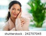 beautiful woman smiling   close ... | Shutterstock . vector #242707045
