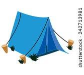 A Single Blue Canvas Tent.