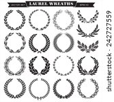 set of laurel wreaths vector | Shutterstock .eps vector #242727559
