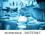flask in scientist hand with... | Shutterstock . vector #242727667
