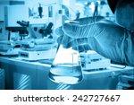 flask in scientist hand with... | Shutterstock . vector #242727667