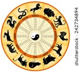 round chinese calendar with... | Shutterstock .eps vector #242734894
