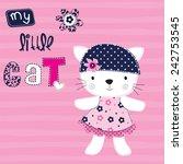 cute cat girl vector...   Shutterstock .eps vector #242753545
