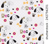 childish pattern with dog... | Shutterstock .eps vector #242756251