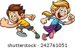 kids happily running. vector... | Shutterstock .eps vector #242761051