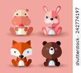 set of animal vectors   pink set   Shutterstock .eps vector #242774197