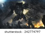 big robot and soldiers in a... | Shutterstock . vector #242774797