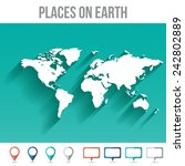 world map with pins  flat... | Shutterstock .eps vector #242802889