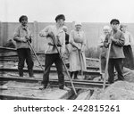 russian men and women railroad... | Shutterstock . vector #242815261