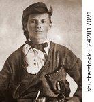 Small photo of Jesse James (1847-1882). Portrait ca. 1870s.