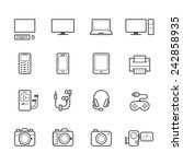 electronic devices icons | Shutterstock .eps vector #242858935