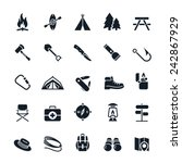 camping icons vector...